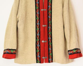 Norwegian wool jacket ethnic embroidered nordic coat Festival duster Folk boho hippy jacket  l m 46 14 16 10 12