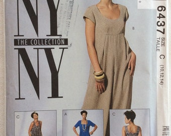 McCall's Pattern 6437 Empire/Raised Waist Jumpsuit w/Wide Legs & Pleats-Tank or Short Sleeves and Scoop or Square Neckline-Size 10-14  UNCUT