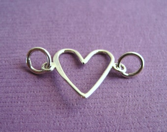 Sterling Silver Open Heart  Connector Link