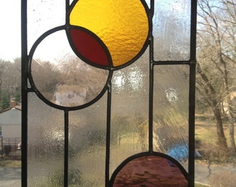 Stained Glass Window Panel with Interlocking Circles (Purple, Red, Pink, Orange)