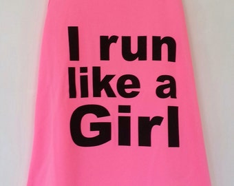 Feminist Pink I Run Like A Girl Ladies Women's Vest Size 8 10 12 14 16  Running Workout Exercise Athlete Gym Sport Slogan Breathable Top