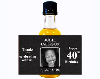 Custom Liquor Mini Bottle Labels Adult Birthday Favors - Personalize with Custom Text, Color, & Image - Womens 40 Birthday Party Celebration