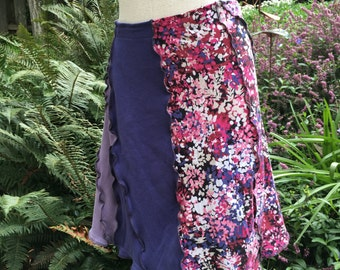 Upcycled Tee Skirt, Recycled Cotton Tee Skirt, Boho Gypsy Festival Wear, Summer Skirt,Large to XL, # S356