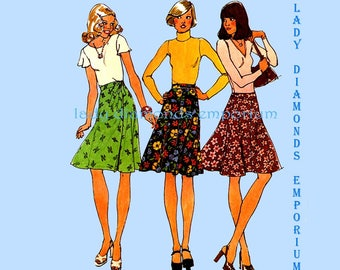 Simplicity 7910 Misses A-Line Flared Bias Skirts Wrap Skirt Semi-Circle Skirt Womens Teens size 8 Waist 24 Vintage 70s Petite Sewing Pattern