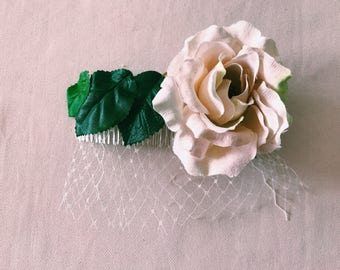 Flower and Leaf Hair Comb Fascinator- Bridal,weddings,birthday,party.