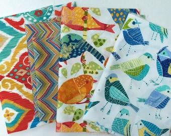 Outdoor Fabric Scraps Bundle -  Fresca Fiesta, Roselle Garden, Ash Hill Garden,Contatto Turquoise  - Home Decor Remnant Cuts Red Orange Blue