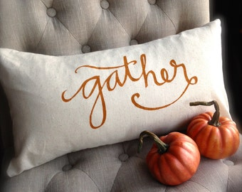 Gather Autumn Pillow Cover, Perfect for Fall and Thanksgiving