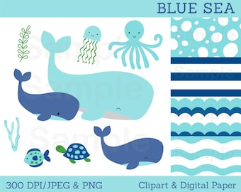 Blue Under The Sea Clipart / Whale Clipart / Under The Sea Baby Shower / Nautical Baby Shower / PERSONAL USE Instant Download A179
