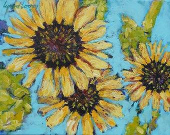 Summer Harvest 11x14 Original, Expressive, Sunflower Art, Gallery Wrapped, Sunflower Painting, Sunflower Decor, yellow blue brown green art