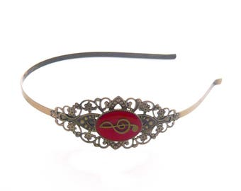 Vintage alice bronze treble clef note musical red lace headband