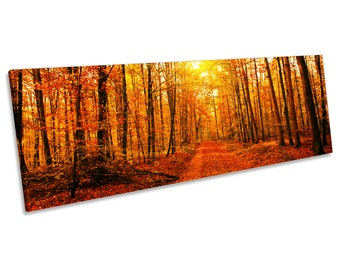 Orange Forest Trees Sunset CANVAS WALL ART Panoramic Framed Print