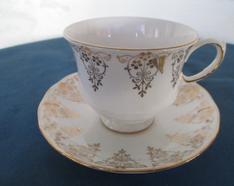 Vintage Queen Anne Bone China Teacup & Saucer England Marked  Vintage Collectible Bone China Dining Drinkware