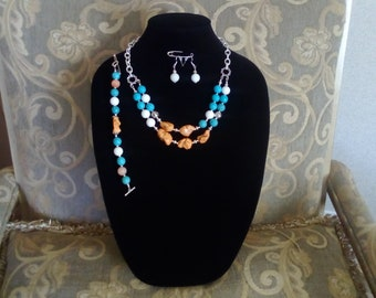 Quarts beads Magnasite beads jewelry set
