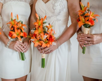Destination Wedding Flowers Orange Tiger Lily bouquet Made in Michigan orange bridal party acessories bridesmaid bokay cruise wedding