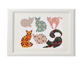 Cat cross stitch pattern Set of 6 Cute cats Geometric cross stitch animal cross stitch modern Plaid Kitty Cross Stitch Design