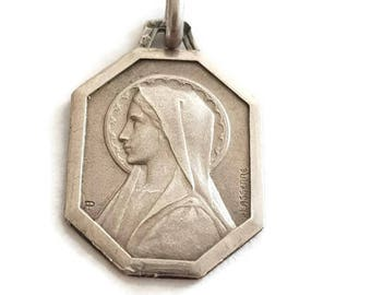 Antique Sterling Silver Holy Virgin Mary Medal by Lasserre and Penin, Christian Pendant