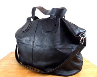 Large leather bag in black