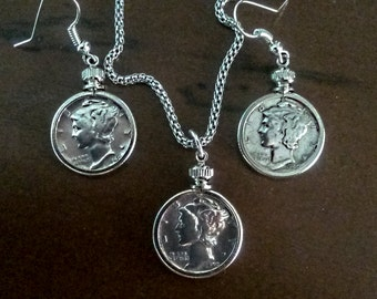 Handmade from three Silver Mercury head dimes 3 bezels two ear hoops, necklace.jump rings.