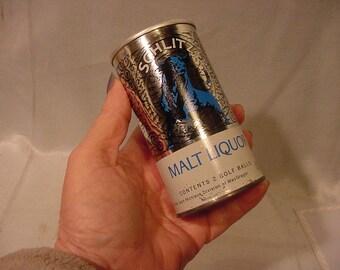 Schlitz Malt Liquor Advertising Tin, Contains 2 Golf Balls Vintage Unopened.