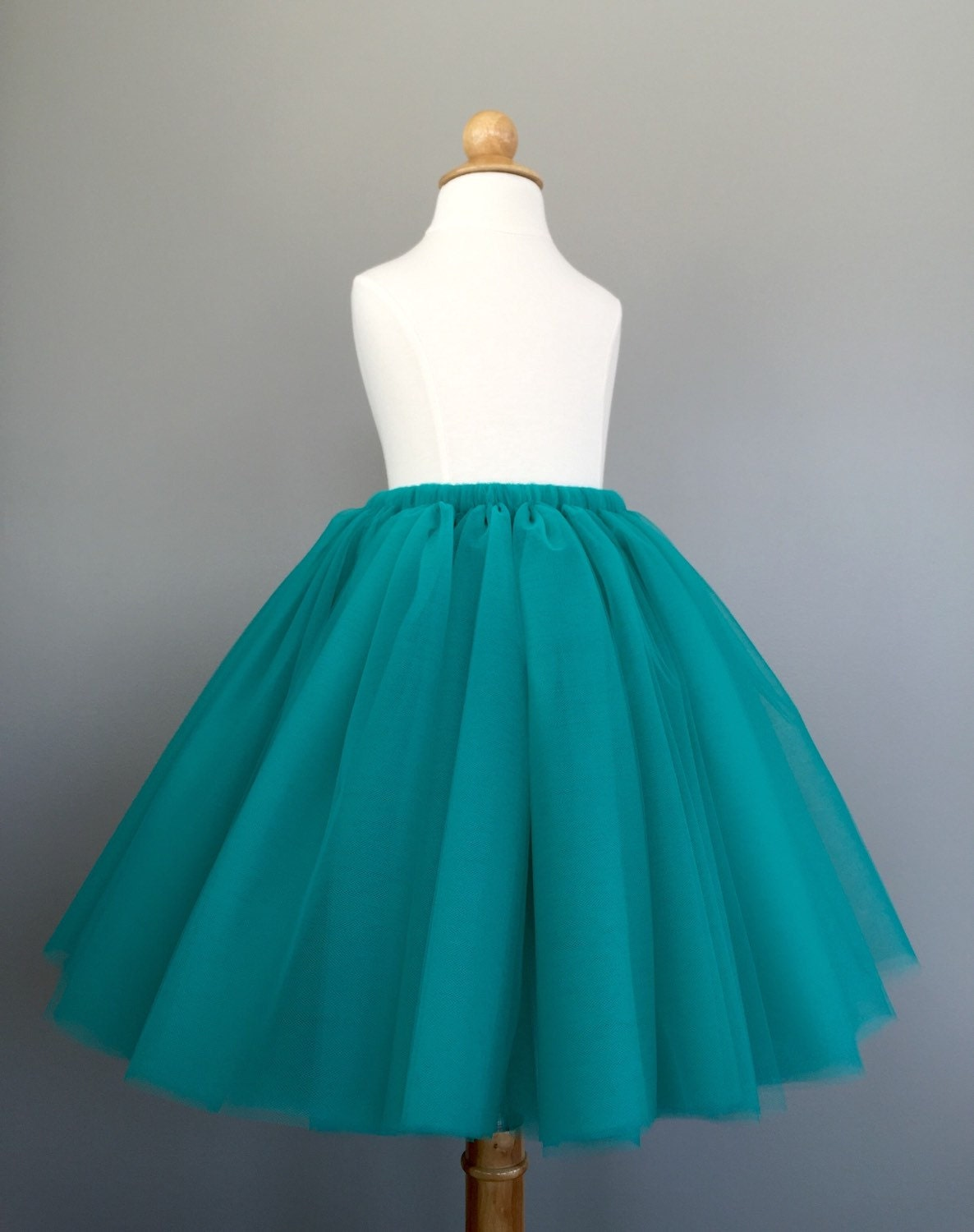 Long Toddler Tutu Flower Girl Tulle Skirt Teal