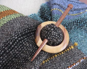 Small  Scarf Wrap Wooden Brooch Ring, Pin,Set, Wrap, Natural Fastener, Celtic hold, Circle Brooch,,Saori Brooch, Wrap clip