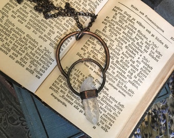 Raw Crystal Necklace Large Quartz Necklace /Rough Crystal Pendant Gypsy Jewelry Witchy Jewelry /Statement Necklace Healing Crystal Jewelry