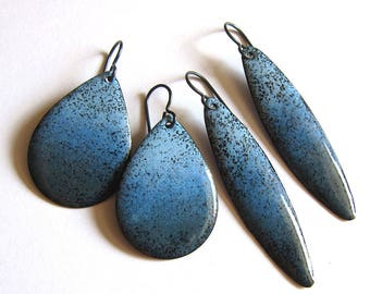 earrings ombre teardrop copper niobium dangles market long oval denim il jewellery jewelry or enamel enameled blue etsy gray