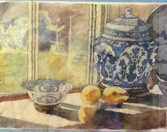 Watercolor Batik Still Life Painting of Lemons and Currier and Ives.
