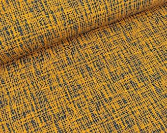 Cotton jersey Vera Criss cross mustard-blue (15.50 EUR/meter)