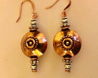 Bold Copper Circle Dangle Earrings