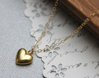 Puffy heart pendant etsy gold heart pendant gold puffy heart necklace love and friendship necklace aloadofball Gallery