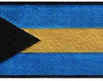 Bahamas Flag Iron On Patch 3 x 1.5 inch Free Shipping