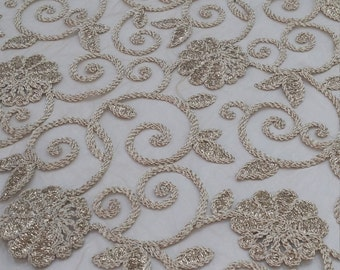 Gold embroidered lace fabric, French Lace, Embroidered lace, Wedding Lace, Bridal lace, Evening dress lace Lingerie Lace Alencon Lace AB4004