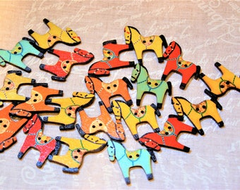 Whimsical wooden horse buttons crafting supplies scrapbooking scrap booking crafts sewing supplies scrapbooks scrap book kids craft projects