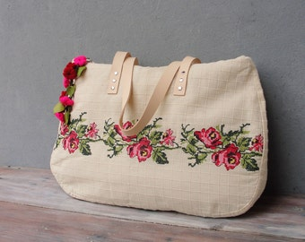 Romantic Overnight Bag, Weekender, Carry-all, Embroidery, Felt and Leather