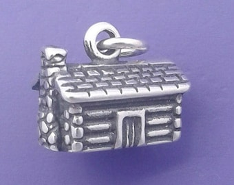 LOG CABIN House Charm .925 Sterling Silver Mountain Home Pendant - d44843