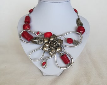 Handmade necklace, red silver necklace, women necklace, rich color jewerelly