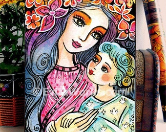 Mother and Child Painting mother and son Motherhood Folk Art Mothers Day Gift Mothers Love, home decor wall decor woman art, woodblock, ABDG