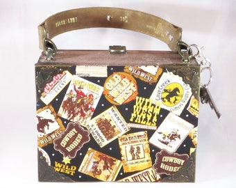 Old West, Wild West Posters Cigar Box Purse, Handbag, Unique Purse, Upcycled Belicoso Warlock Cigar Box Item 715