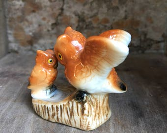 Mama & Baby Owl Ceramic Miniature Vintage Decor - #F5074