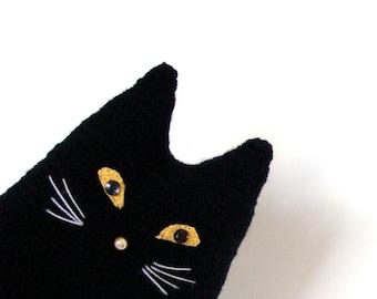Black cat toy pillow Halloween decor crochet cat stuffed pillow black cat decorative pillow pet lover gift cat lover gift idea halloween cat