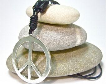 Genuine Leather Surfer Necklace Silver Peace Symbol Pendant Chain Choker Collier