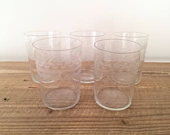 Set of 5 Vintage Etched Glass Filigree Tumblers
