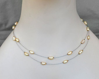 Floating Necklace Golden-White Natural Pearls Illusion Necklace Silver Wire Illusion necklace double stranded silver wire necklace