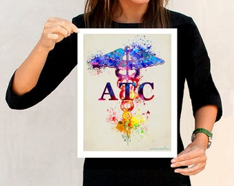 "Certified Athletic Trainer (ATC) Watercolor- Caduceus, 11"" x 14"" print,Athletic Trainer certification gift, Certified Athletic Trainer print"