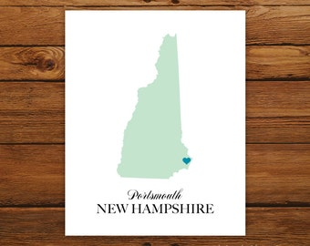 New Hampshire State Love Map Silhouette 8x10 Print - Customized