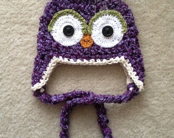 Whimsy Woodland Owl Beanie with braided tassels and button eyes - NB-12M