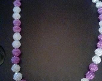 Fuchsia and white sparkle brad necklace