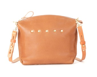 "Light Brown Leather Handbag - ""LEXINGTON"" Cross body Handbag"