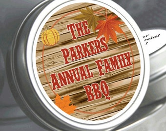"12 Family Reunion Mint Tins - Fall Harvest BBQ - Select the quantity you need below in the ""Pricing & Quantity"" option tab"